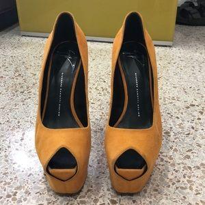 Giuseppe Zanotti Suede Peep Toe Platform Heel